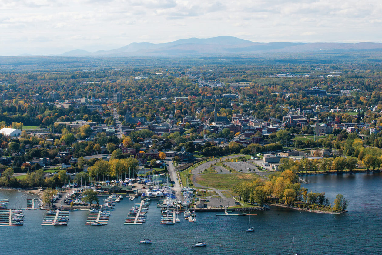 Aerial view of college campus on the waterfront.